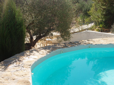 pool side in spainish farmhouse